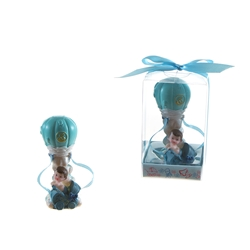 Mega Favors - Baby in Hot Air Ballon Poly Resin in Gift Box - Blue