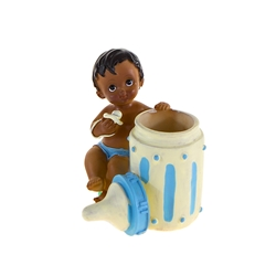 Mega Favors - Ethnic Baby Sitting Next to Baby Bottle Poly Resin - Blue