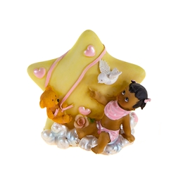 Mega Favors - Ethnic Baby Sitting on Clouds Poly Resin - Pink