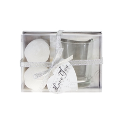Mega Candles - 2 pcs Unscented Pearl Votive Candle with Glass Holder in Gift Box - White