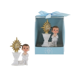 Mega Favors - Baby Praying Next to JHS Symbol Poly Resin in Designer Box - Blue
