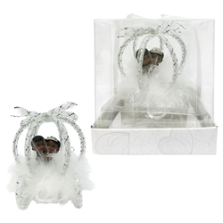 Mega Favors - Ethnic Baby Wedding Couple in Carriage Poly Resin in Gift Box - White
