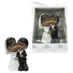 Mega Favors - Ethnic Baby Wedding Couple Poly Resin in Designer Box - White
