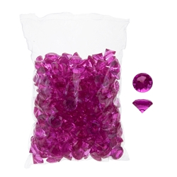 Mega Crafts - 1 Pound Acrylic Decorative Small Diamonds - Dark Fuchsia