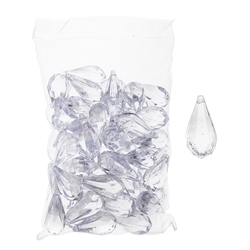 Mega Crafts - 1 Pound Acrylic Decorative Ice Rocks Teardrop - Clear