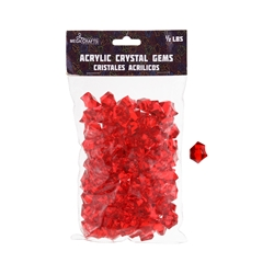 Mega Crafts - 1/2 Pound Acrylic Decorative Ice Rocks Cube - Red