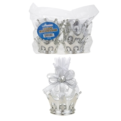 Mega Crafts - 6 pcs Crown with Rhinestone Organza Bag - Silver