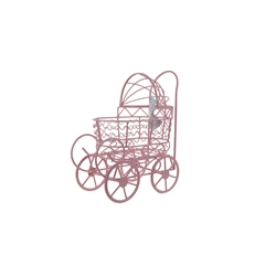 "Mega Crafts - 8"" Wire Baby Stroller with Moveable Wheels - Pink"