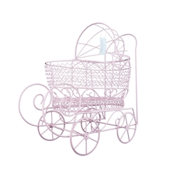 "Mega Crafts - 16"" Wire Baby Stroller with Moveable Wheels - Pink"