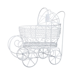 "Mega Crafts - 16"" Wire Baby Stroller with Moveable Wheels - White"