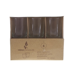 Mega Candles - 6 pcs Glass Container in Brown Box - Clear