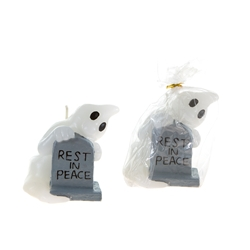 Mega Candles - Ghost with RIP Tombstone Candle - White