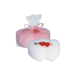 Mega Candles - Double Heart Candle - White