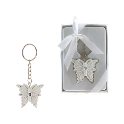 Mega Favors - Butterfly Poly Resin Key Chain in Gift Box - White