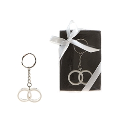 Mega Favors - Double Wedding Rings Poly Resin Key Chain in Gift Box - White
