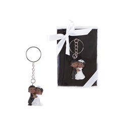Mega Favors - Ethnic Baby Wedding Couple Poly Resin Key Chain in Gift Box - White