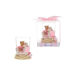 Mega Favors - Teddy Bear on Horse Poly Resin Candle Set in Gift Box - Pink