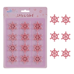 Mega Crafts - 12 pcs Baby Sail Wheel Poly Resin Embellishments - Pink