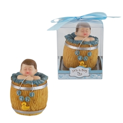 Mega Favors - Baby Napping in Barrel Poly Resin in Gift Box - Blue