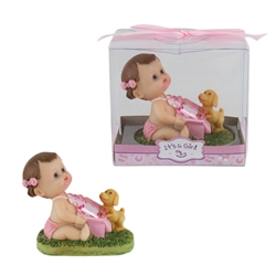 Mega Favors - Baby Sitting with Puppy Poly Resin in Gift Box - Pink