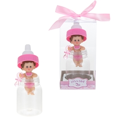 Mega Favors - Baby in Baby Bottle with Pacifier Poly Resin in Gift Box - Pink