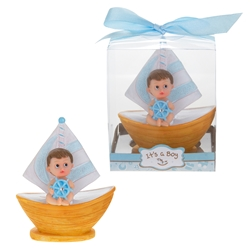 Mega Favors - Baby Sitting in Sail Boat Poly Resin in Gift Box - Blue