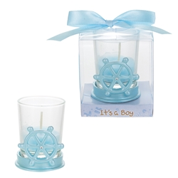 Mega Favors - Ship Wheel Poly Resin Candle Set in Gift Box - Blue
