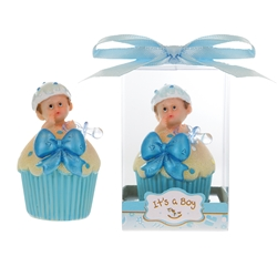 Mega Favors - Baby inside Cupcake with Pacifier Poly Resin in Gift Box - Blue