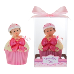 Mega Favors - Baby inside Cupcake with Pacifier Poly Resin in Gift Box - Pink