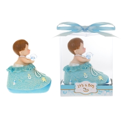 Mega Favors - Baby inside Bootie with Pacifier Poly Resin in Gift Box - Blue