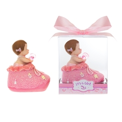 Mega Favors - Baby inside Bootie with Pacifier Poly Resin in Gift Box - Pink