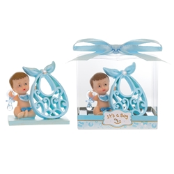 Mega Favors - Baby Holding Large Bib Poly Resin in Gift Box - Blue
