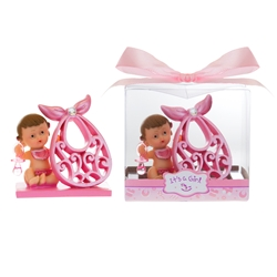 Mega Favors - Baby Holding Large Bib Poly Resin in Gift Box - Pink