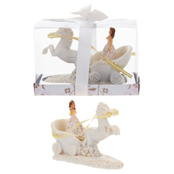 Mega Favors - Lady on Horse Carriage Poly Resin in Gift Box - White