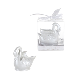 Mega Favors - Swan Poly Resin in Gift Box - White