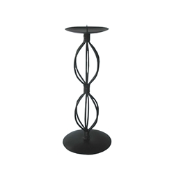 Mega Candles - Pillar / Round Metal Candle Holder - Matte Black