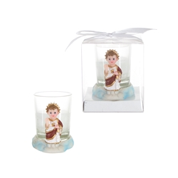 Mega Favors - Baby Jesus Poly Resin Candle Set in Gift Box - White