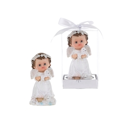 Mega Favors - Baby Angel Holding in White a Baby Lamb in Gift Box - Pink