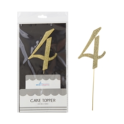 Mega Crafts - Sparkling Rhinestone Number Cake Topper - 4 Gold