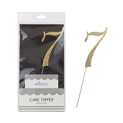 Mega Crafts - Sparkling Rhinestone Number Cake Topper - 7 Gold