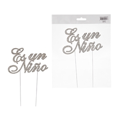 Mega Crafts - Sparkling Rhinestone Spanish Words Cake Topper - Es un Niño