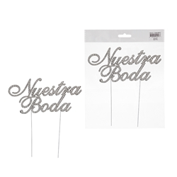 Mega Crafts - Sparkling Rhinestone Spanish Words Cake Topper - Nuestra Boda