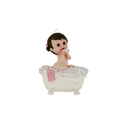 Mega Favors - Toddler in Bubble Bath Poly Resin Plaque - Pink