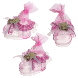 Mega Favors - Acrylic Baby Bootie Holder - Pink