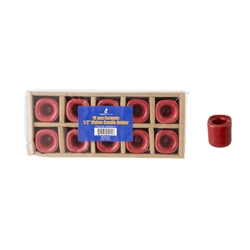 "Mega Candles - 10 pcs Ceramic 1/2"" Chime / Spell Candle Holder - Red"