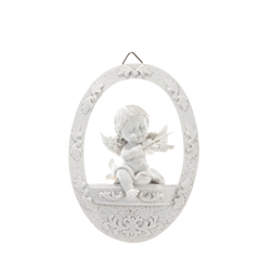 Mega Favors - Baby Angel Sitting on Balcony Wall Plaque - White