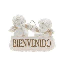 Mega Favors - Two Baby Angels with (Spanish) Welcome Sign Wall Plaque - White