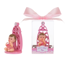Mega Favors - Baby Sitting with Baby Bottle Poly Resin in Gift Box - Pink