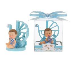 Mega Favors -Baby Sitting with Baby Carriage Poly Resin in Gift Box - Blue