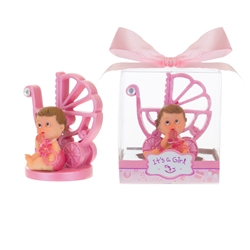 Mega Favors - Baby Sitting with Baby Carriage Poly Resin in Gift Box - Pink